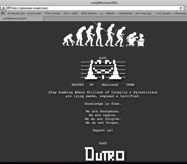 Anonymous hacks advocate_israel.com