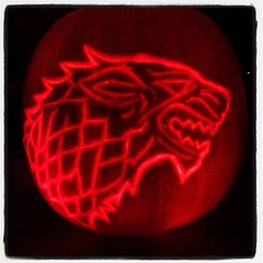 Genuinely can't feel my hands after carving this but WINTER IS COMING #gameofthrones #got #direwolf #stark #pumpkin #winteriscoming