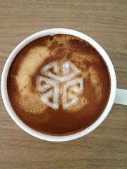 Today's latte, SGI cube logo.