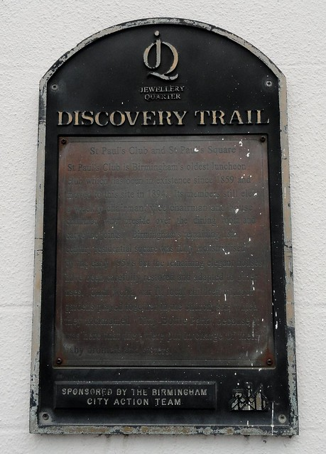 Photo of St Paul's Club and St Paul's Square bronze plaque