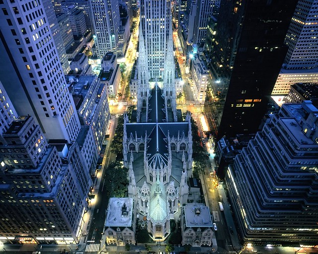 st. patrick's cathedral pre-dawn, new york city