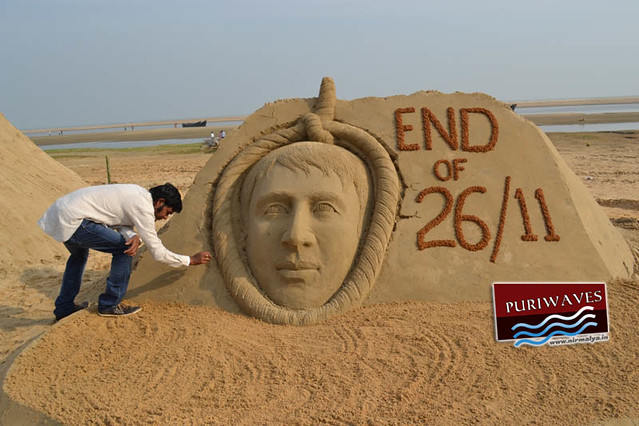 End of 26/11 Sand Art by Sudarshan Pattnaik