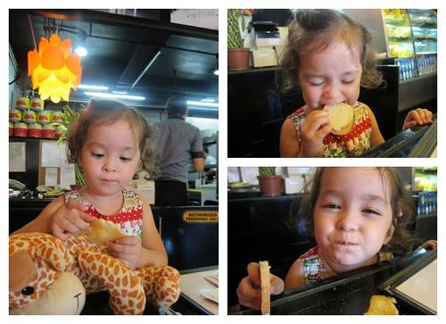 Lucy eats crostini