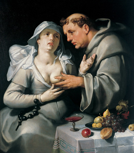 Cornelis van Haarlem - Monk with a Beguine [1591] by Gandalf's Gallery