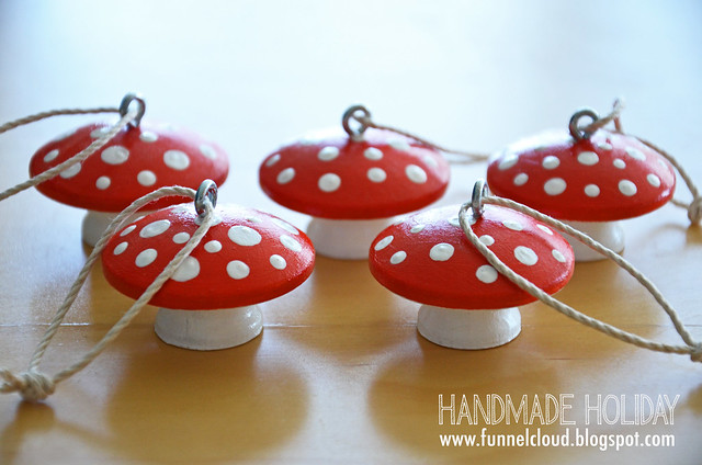 handmade holiday | wood mushroom ornaments