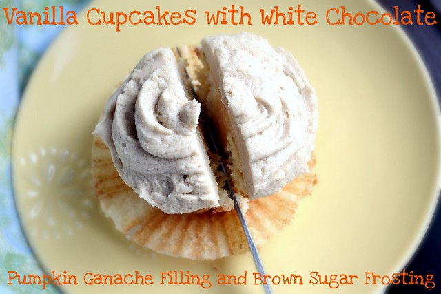 vanilla cupcakes with white chocolate pumpkin ganache