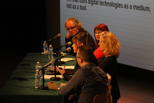 Christiane Paul makes a point on the panel