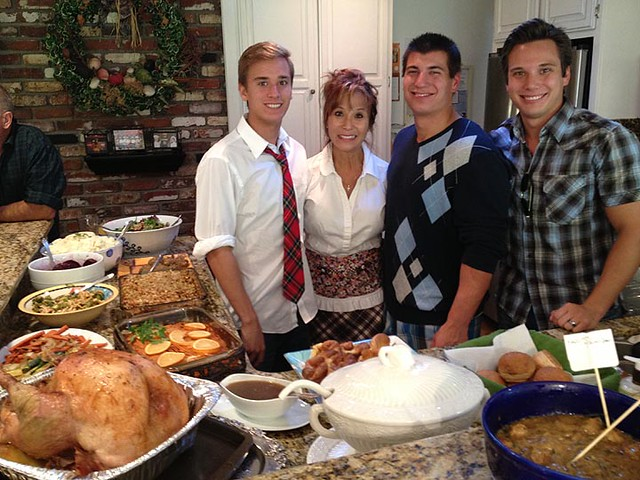 Janet (my sister) w her 3 sons: Chace, Cody and Camron. Thanksgiving 2012