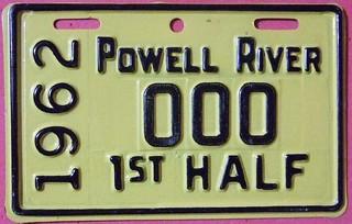 POWELL RIVER B.C. 1962 1st HALF ---SUPPLEMENTAL LICENSE PLATE SAMPLE