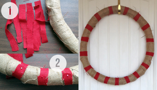 DIY Burlap Striped Wreath