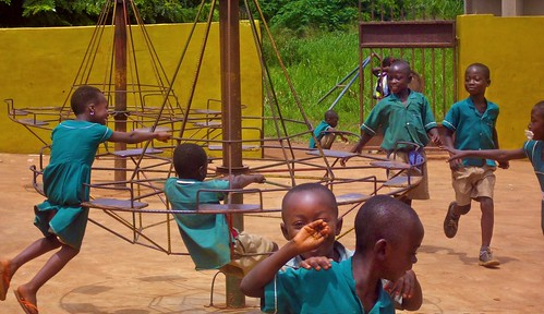 Kindergarten pupils in the playground of St Peter's Primary and Junior High School, Wioso, Ghana
