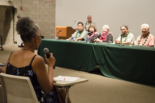 <p>University of Hawaii President M.R.C. Greenwood, UH Executive Vice President for Academic Affairs/Provost Linda Johnsrud, UH Manoa Chacellor Tom Apple and Regents Eric K. Martinson, James H. Q. Lee, Chuck Y. Gee, John C. Holzman and Coralie Chun Matayoshi attended the UH Manoa community forum on December 3, 2012.</p>