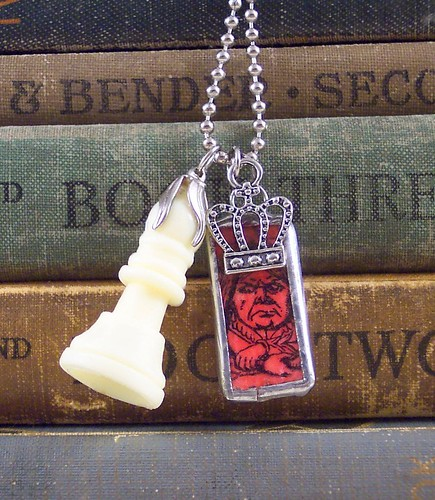 Red Queen charm necklace