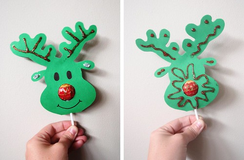 Lollypop Nose Reindeer - the finished product - front and back