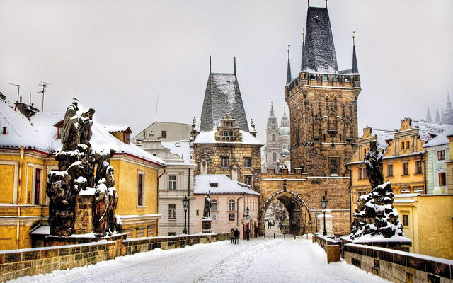 Snow on Charles Bridge in Prague Mala Strana