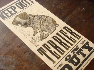 Terrier On Duty letterpress poster