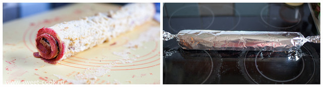 подготовка бисквита к заворачиванию