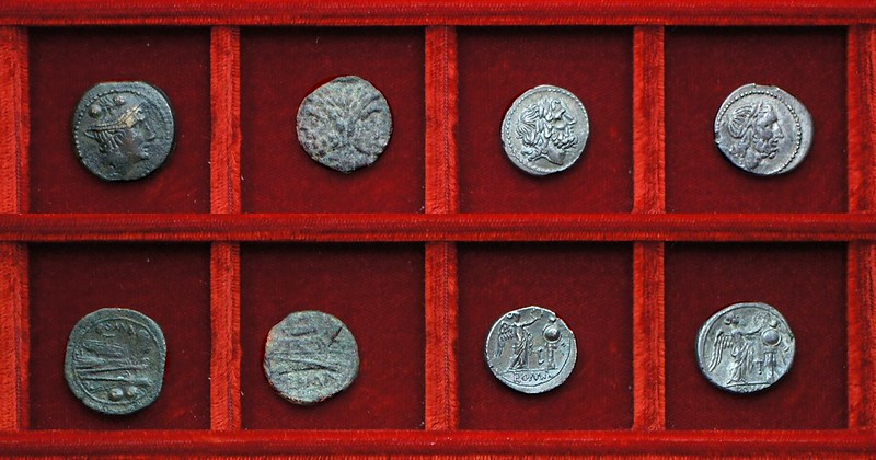 RRC 097 L Luceria bronzes (6), RRC 98(A) LT Luceria silver, Ahala collection, coins of the Roman Republic