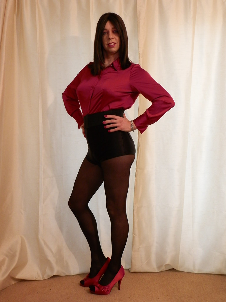 What satin shorts and pantyhose
