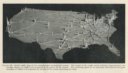 Relief traffic map of the recommended interregional system (1944)