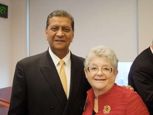 <p>At the Asia Pacific Disaster Risk Reduction Resiliency Initiative (APDR3), from left, Amir Dossal, the UN's chief liaison for partnerships and M.R.C. Greenwood, University of Hawaii president.</p>