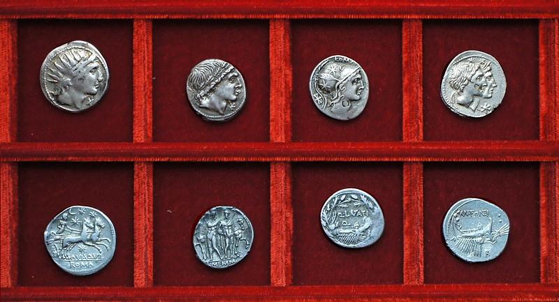 RRC 303 MN.AQVIL Aquillia, RRC 304 L.MEMMI Memmia, RRC 305 Q.LVTATI Q. Lutatia, RRC 307 MN.FONTEI Fonteia, Ahala collection, coins of the Roman Republic