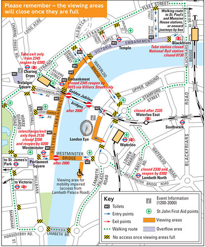 Map of where to watch fireworks in london
