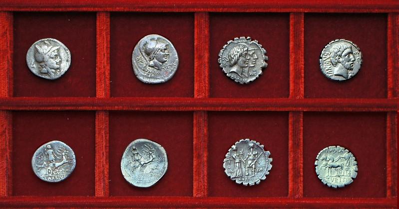 RRC 400, 70BC L.AXIVS NASO Axia, RRC 403, 68BC KALENI CORDI Fufia, RRC 404, 66BC, T.VETTIVS SABINVS Vettia, Ahala collection, coins of the Roman Republic
