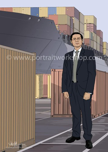 digital illustration of Korean guy with containers (SPH Magazines)