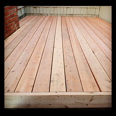 outdoor structure(0.0), laminate flooring(0.0), floor(1.0), plywood(1.0), plank(1.0), wood(1.0), wood stain(1.0), deck(1.0), wood flooring(1.0), lumber(1.0), hardwood(1.0), flooring(1.0),