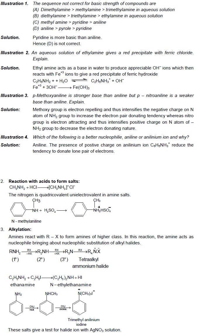 CBSE Class 12 Chemistry Notes: Amines – Chemical Properties