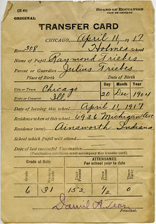 Raymond Triebess school transfer, 1917