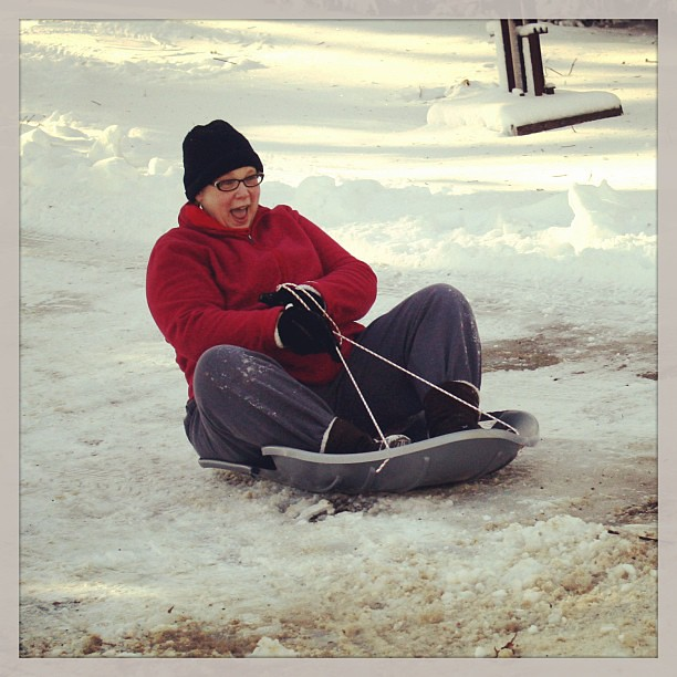 Grandma sleds with the best of them.