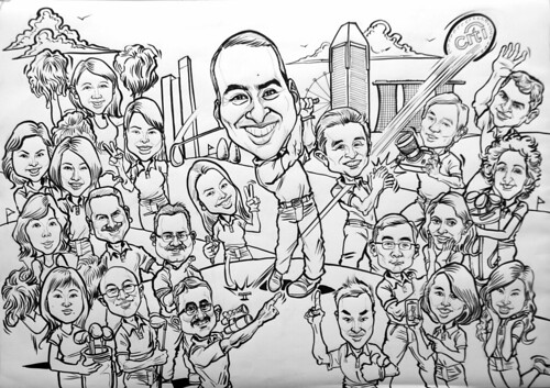 group caricatures for Citibank - 2