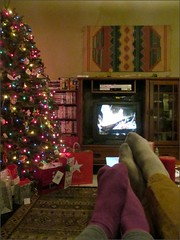 Watching the Yule Log and waiting for Santa