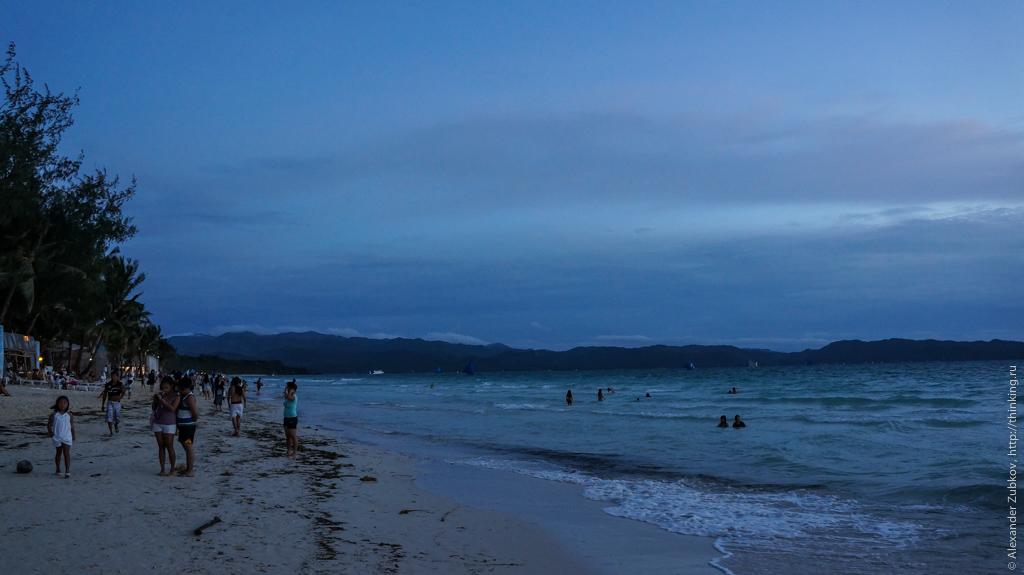 Вечерний пляж на остров Боракай, Филиппины