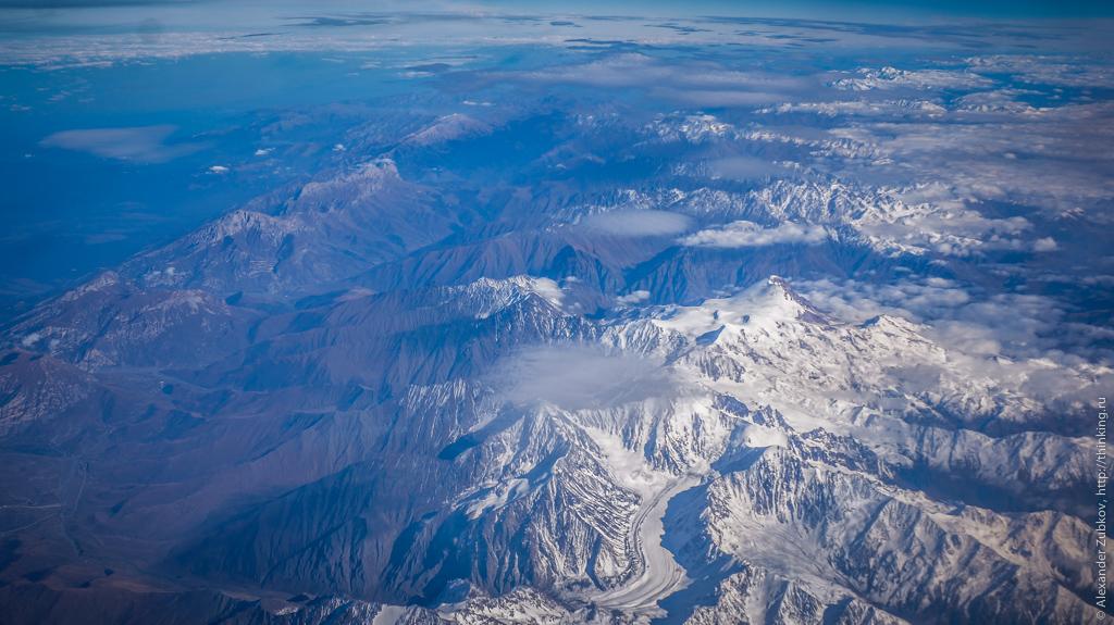 Кавказ из самолёта