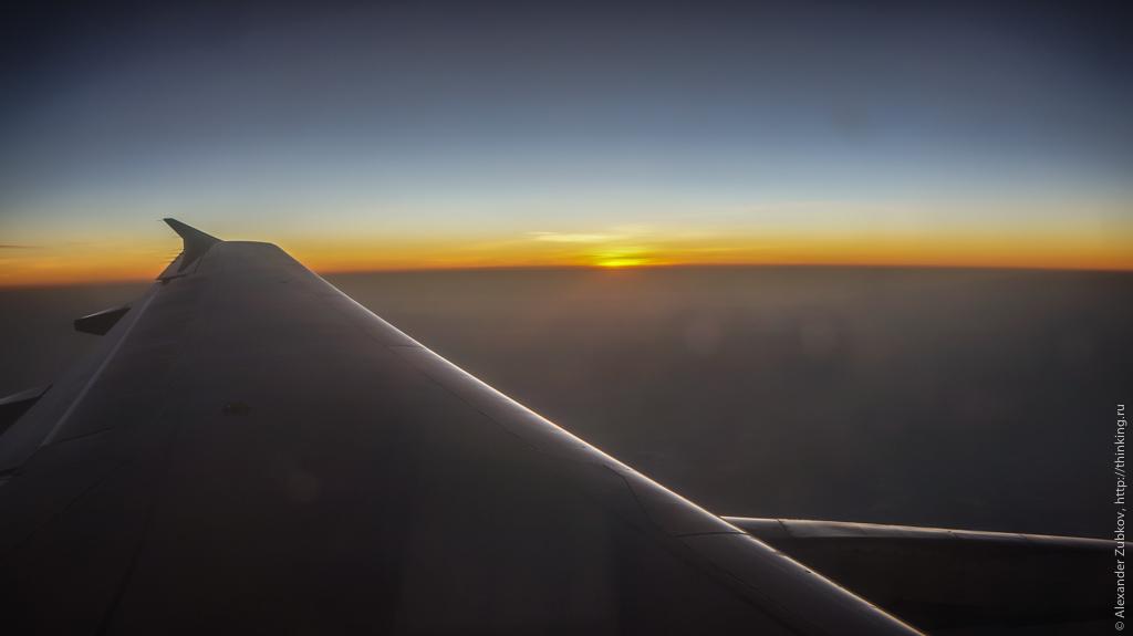 Закат солнца по пути в Гонконг