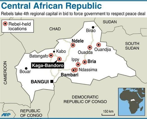 Map of Central African Republic where rebels have made advances toward the capital of Bangui. Supporters of President Francois Bozize want intervention by France to stop the rebel advances. by Pan-African News Wire File Photos
