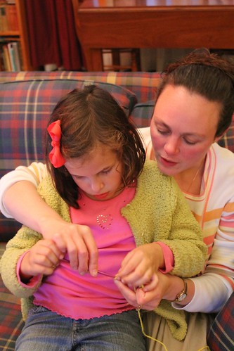 Aunt Cindy teaching Anna to crochet!