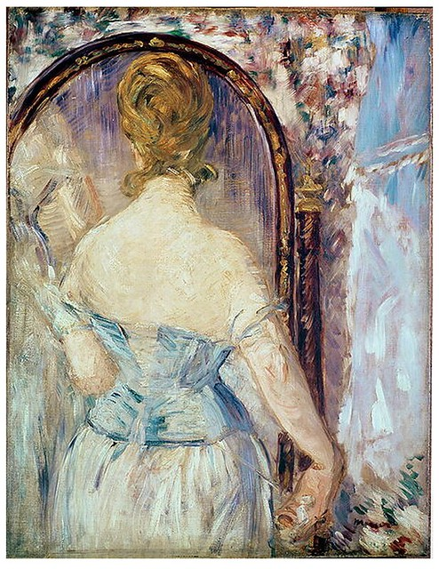 Manet enters the bar or bricolage of the hollow mirrors for Devant le miroir