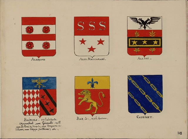 6 painted coats of arms from French album of the history of Nice