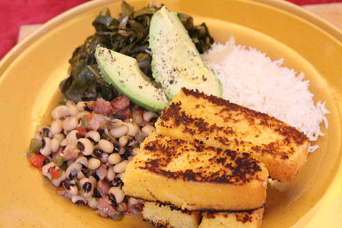 New Year's Dinner of Blackeyed Peas, Griddled Cornbread, Rice, Collard Greens, and Avocado
