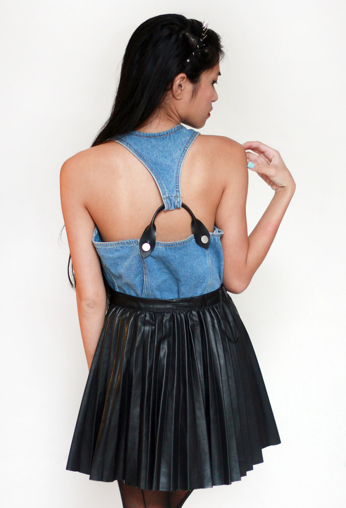 vintage denim leather harness top by Tarte Vintage at shoptarte.com