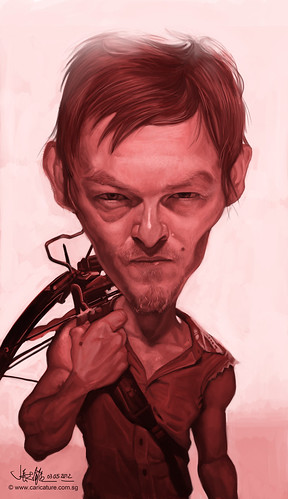 digital caricature of Norman Reedus as Daryl Dixon