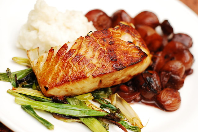 Black cod with balsamic-shallot sauce and mashed potatoes