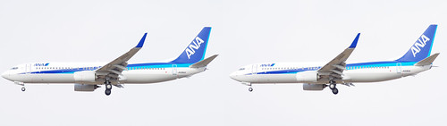 Boeing 737-800, ANA JA69AN, stereo parallel view