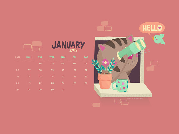 Free download: January 2013 wallpaper calendar for desktop and iPhone lock screen