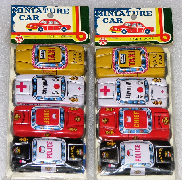 Japanese Toy Manufacturers : Vintage tin toy minature cars nos made in japan no
