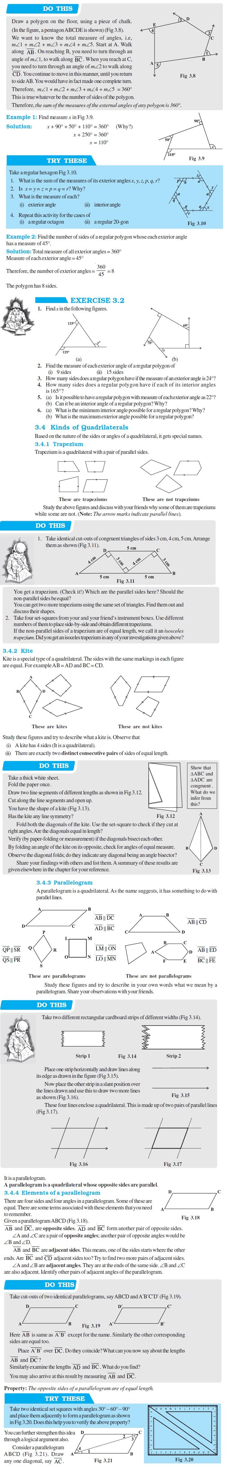 NCERT Class VIII Maths Chapter 3 Understanding Quadrilaterals